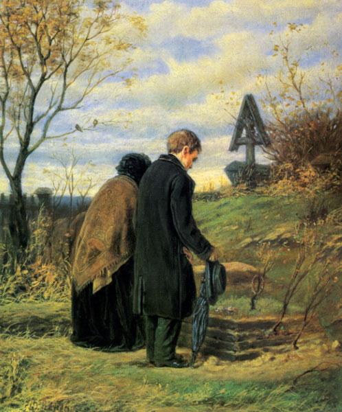 Старики на могилке сына